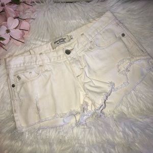 Abercrombie & Fitch White Cut Off Shorts 2